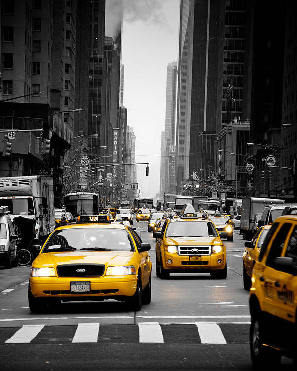 New York Poster featuring the photograph Taxis On 6th Avenue by Heidi Reyher