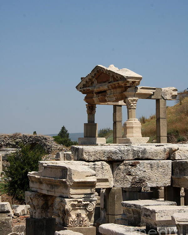 Temple Ruin Poster featuring the photograph Temple Ruin - Ephesus by Christiane Schulze Art And Photography