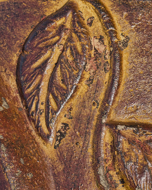 Terracotta Poster featuring the photograph Terracotta Raised Relief Pottery Leaf by Kathy Clark