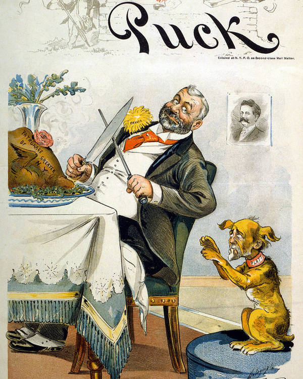 1890s Poster featuring the photograph Thanksgiving, Puck Magazine Cover by Everett