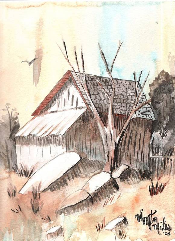 Wood Shed Poster featuring the painting The Abandoned Woodshed by Windy Mountain