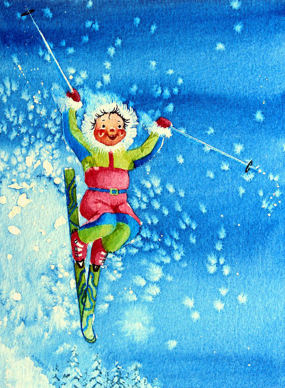 Kids Art For Ski Chalet Poster featuring the painting The Aerial Skier 12 by Hanne Lore Koehler