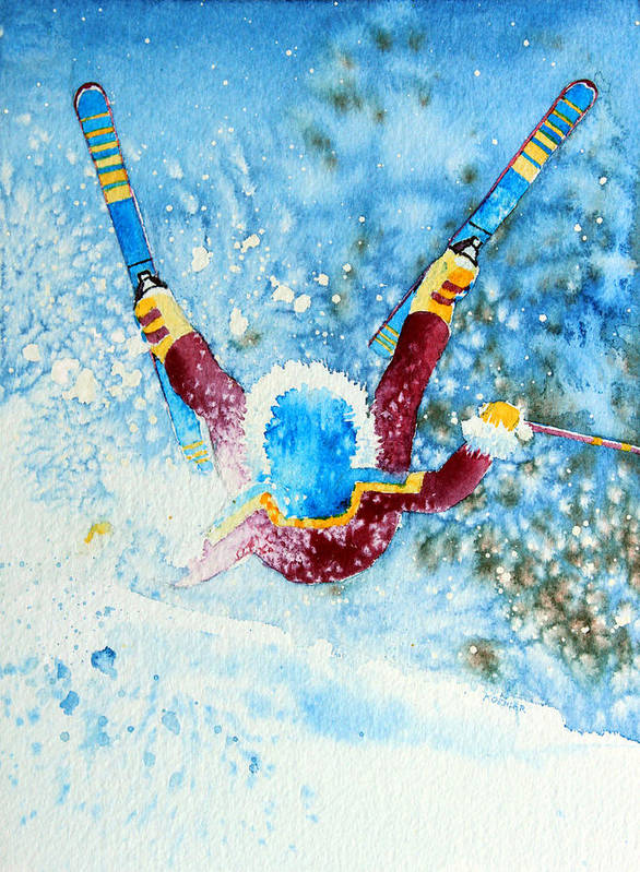 Kids Art For Ski Chalet Poster featuring the painting The Aerial Skier - 14 by Hanne Lore Koehler