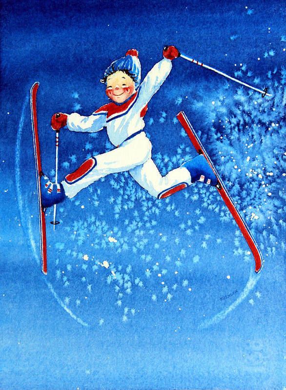 Kids Art For Ski Chalet Poster featuring the painting The Aerial Skier 16 by Hanne Lore Koehler