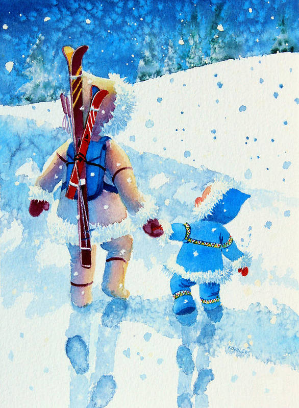 Kids Art For Ski Chalet Poster featuring the painting The Aerial Skier - 2 by Hanne Lore Koehler