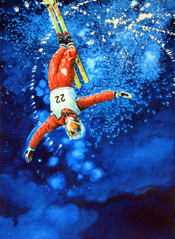 Sports Art Poster featuring the painting The Aerial Skier 20 by Hanne Lore Koehler