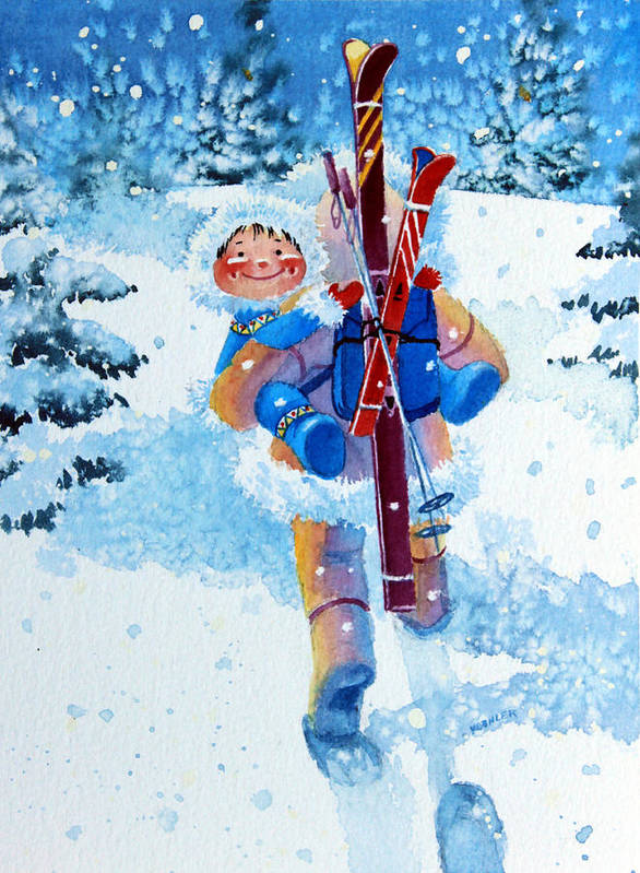 Kids Art For Ski Chalet Poster featuring the painting The Aerial Skier - 3 by Hanne Lore Koehler