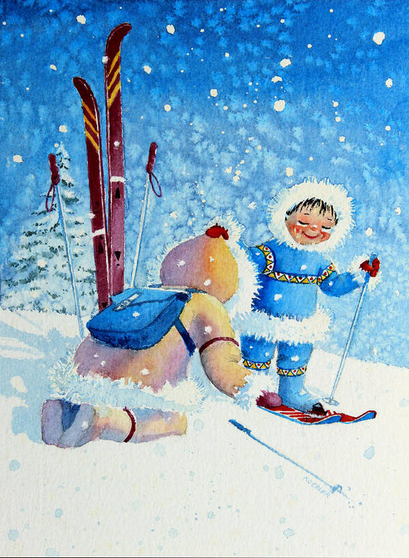 Kids Art For Ski Chalet Poster featuring the painting The Aerial Skier - 5 by Hanne Lore Koehler