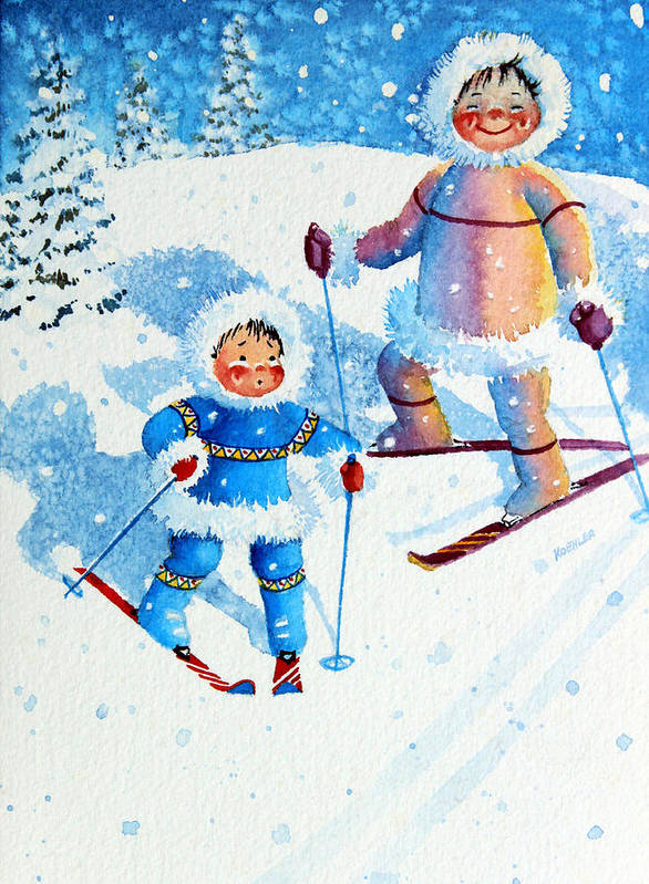 Kids Art For Ski Chalet Poster featuring the painting The Aerial Skier - 6 by Hanne Lore Koehler