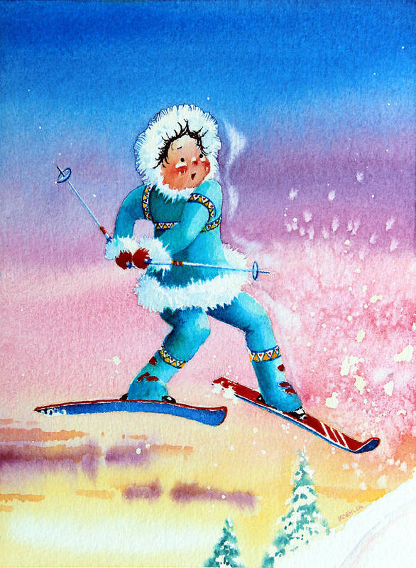 Kids Art For Ski Chalet Poster featuring the painting The Aerial Skier - 8 by Hanne Lore Koehler