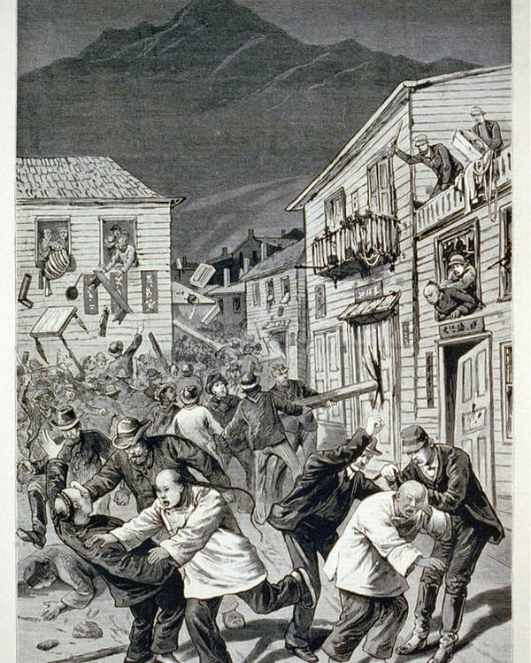 1880s Poster featuring the photograph The Anti-chinese Riot In Denver by Everett