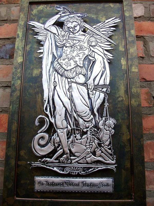Saint Michael Poster featuring the relief The Archangel Michael Weighing Souls by Cacaio Tavares