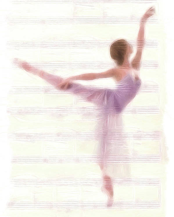 Ballet Dancer Dancing Melody Music Female Woman Girl Romance Romantic Ballerina Poster featuring the painting The Ballerina by Steve K