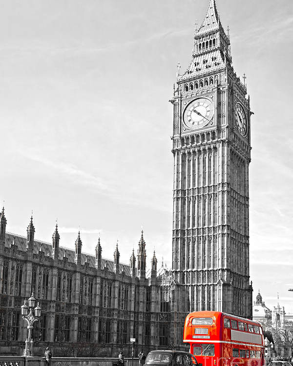 Big Ben Poster featuring the photograph The Big Ben - London by Luciano Mortula