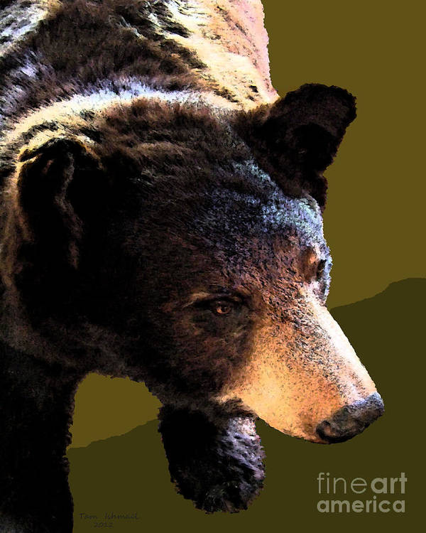 Animals Poster featuring the mixed media The Black Bear by Tammy Ishmael - Eizman