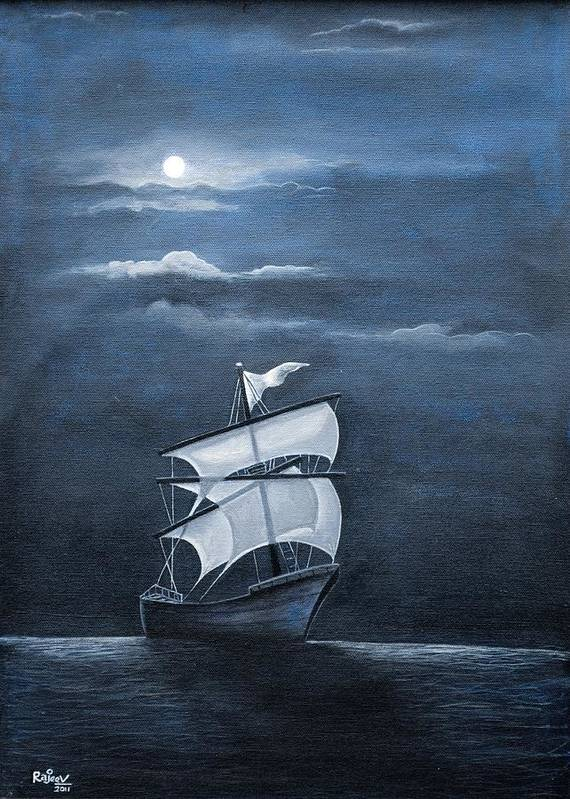 Night Poster featuring the painting The Black Pearl by Rajeev M Krishnan