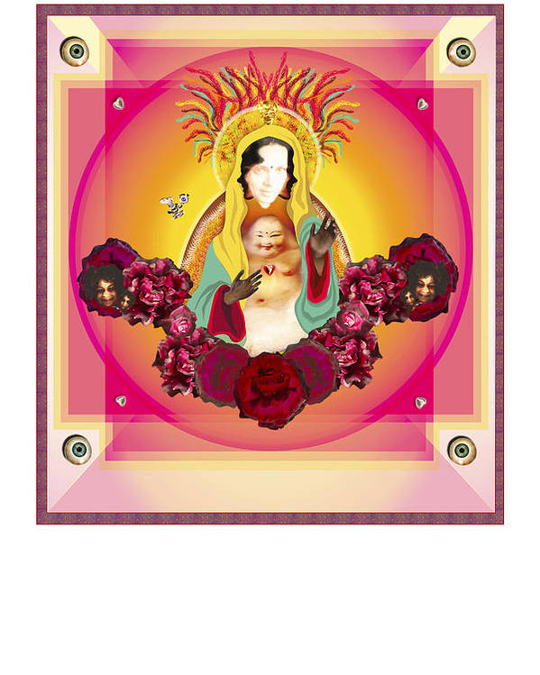 Virgin Mary Poster featuring the digital art The Blessing I Self Portrait by Dyana Ariza
