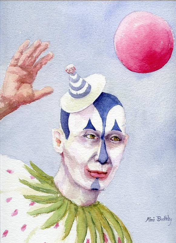 Clown Poster featuring the painting The Blue Clown by Mimi Boothby