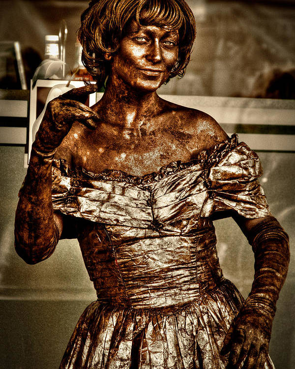Pike Place Market Poster featuring the photograph The Bronze Lady In Pike Place Market by David Patterson
