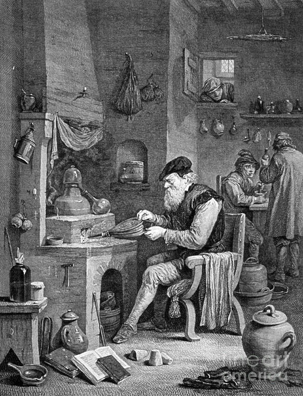 History Poster featuring the photograph The Chemist, 17th Century by Science Source
