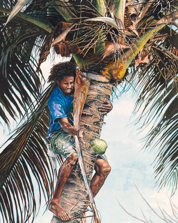 Tree Poster featuring the painting The Coconut Tree by Gregory Jules