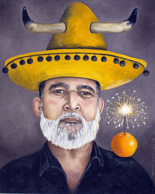 Sombrero Poster featuring the painting The Competitive Sombrero Couple 2 by Leah Saulnier The Painting Maniac