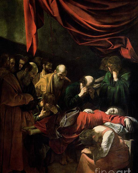 The Death Of The Virgin (oil On Canvas)red Backdrop; Mary; Madonna; Mourning; Mourners; Caravaggio Poster featuring the painting The Death Of The Virgin by Caravaggio