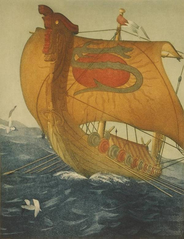 History Poster featuring the photograph The Dragon Ship. Viking Ship At Sea by Everett