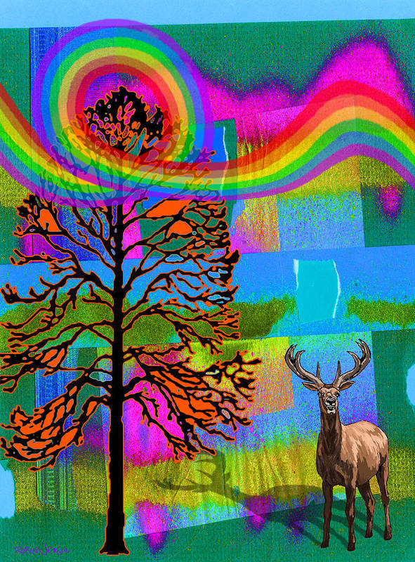 Landscape Poster featuring the digital art The Earth Rejoices Series Deer And Basswood by Robin Jensen