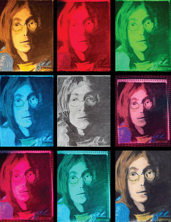 Miami Poster featuring the drawing The Essence Of Light- John Lennon by Jimi Bush