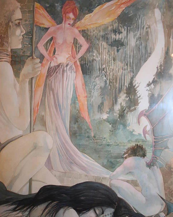Fairies Demons Dreams Sleep  Poster featuring the drawing The Exile by Jackie Rock