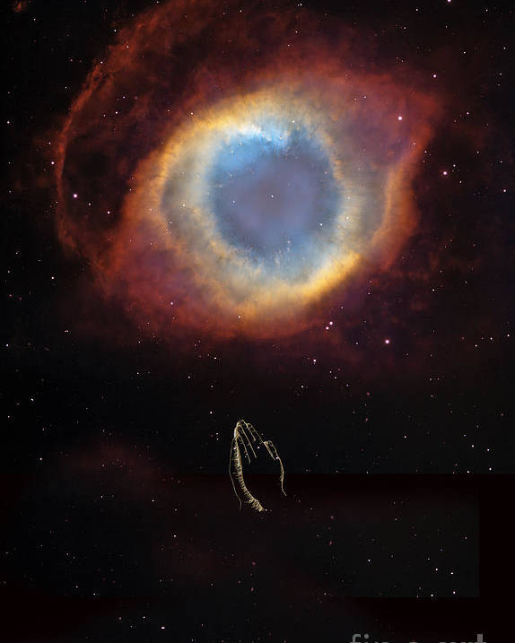 Eye Of God And Praying Hands Poster featuring the digital art The Eye Of God And Praying Hands by Heinz G Mielke