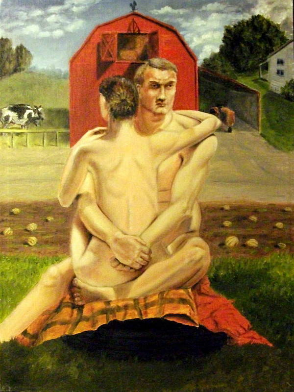 Nude Poster featuring the painting The Farmyard Embrace by Howard Bosler
