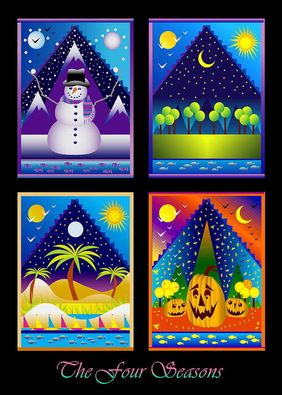 Card Poster featuring the digital art The Four Seasons by Nancy Griswold