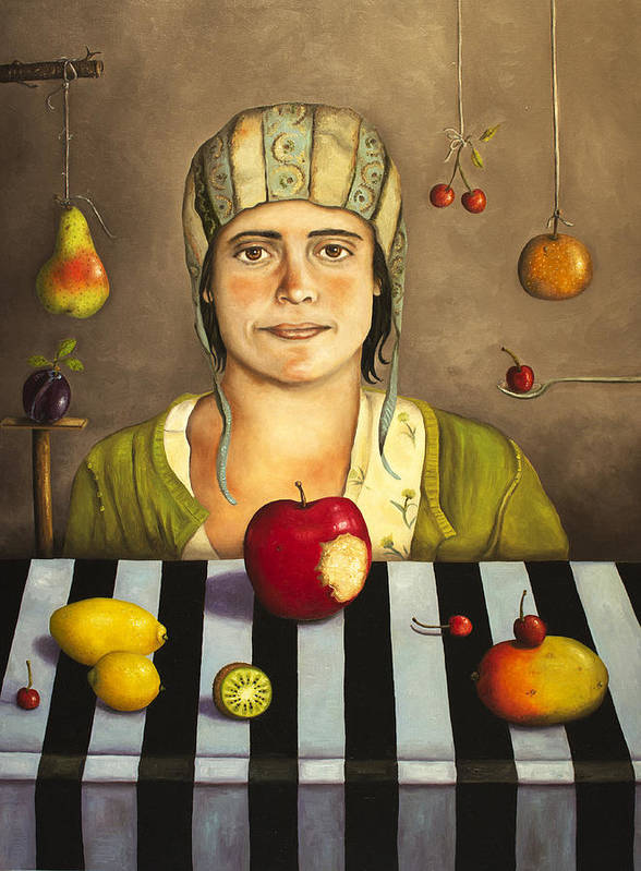 Fruit Poster featuring the painting The Fruit Collector 2 by Leah Saulnier The Painting Maniac