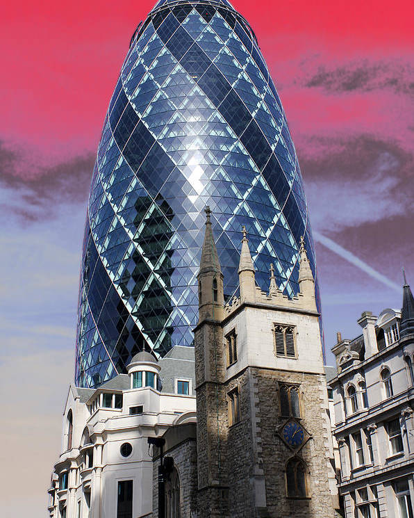 Gherkin Poster featuring the photograph The Gherkin London by Jasna Buncic