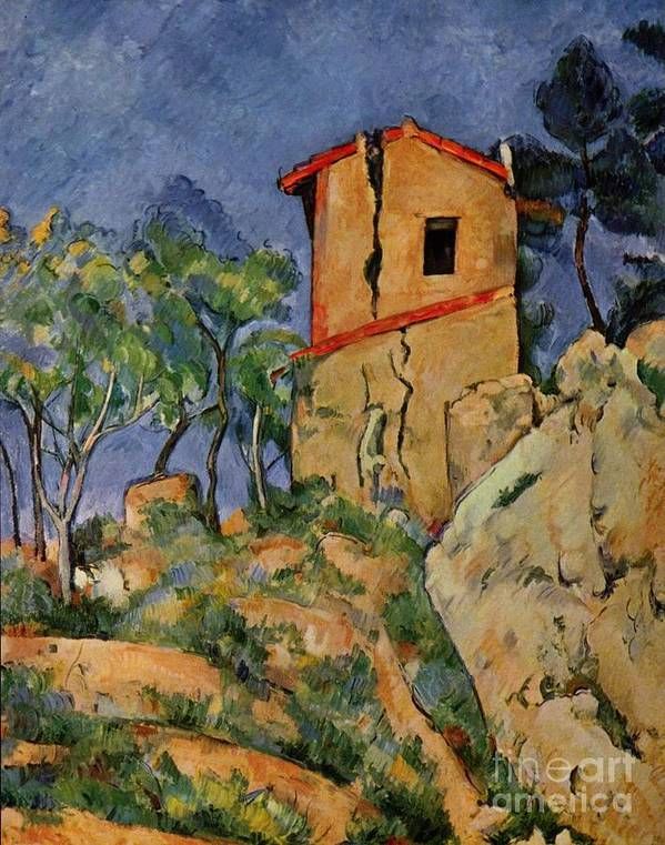 Cezanne Poster featuring the painting The House With Burst Walls by Extrospection Art
