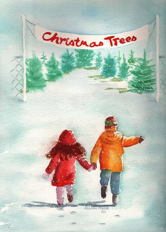 The Joy Of Selecting A Christmas Tree Poster featuring the painting The Joy Of Selecting A Christmas Tree by Sharon Mick