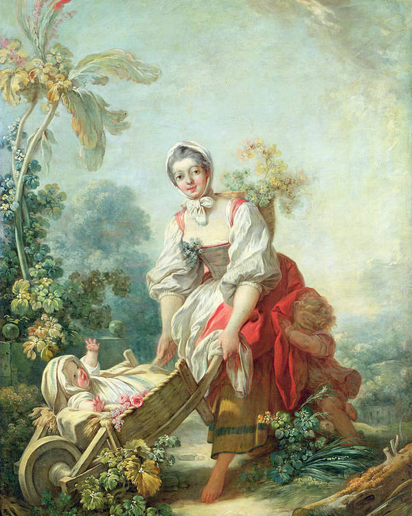 Maternal Poster featuring the painting The Joys Of Motherhood by Jean-Honore Fragonard