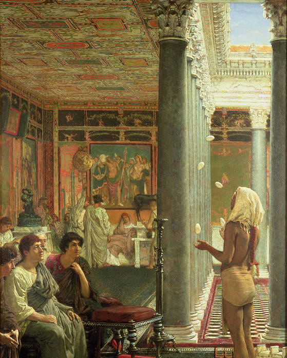 The Poster featuring the painting The Juggler by Sir Lawrence Alma-Tadema