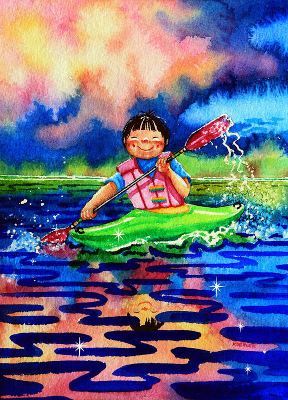 Olympic Picture Book Poster featuring the painting The Kayak Racer 11 by Hanne Lore Koehler