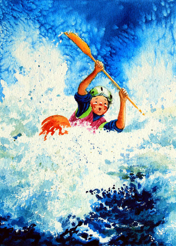 Olympic Picture Book Poster featuring the painting The Kayak Racer 16 by Hanne Lore Koehler