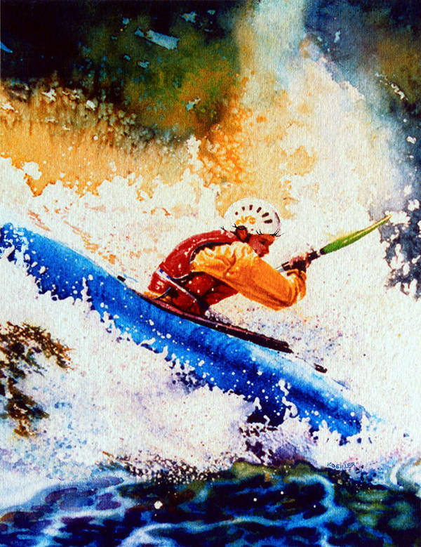 Olympic Picture Book Poster featuring the painting The Kayak Racer 17 by Hanne Lore Koehler