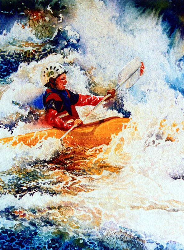 Olympic Picture Book Poster featuring the painting The Kayak Racer 19 by Hanne Lore Koehler