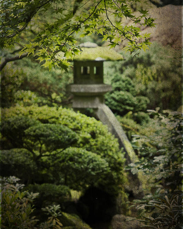 Portland Japanese Garden Poster featuring the photograph The Lantern by Rebecca Cozart