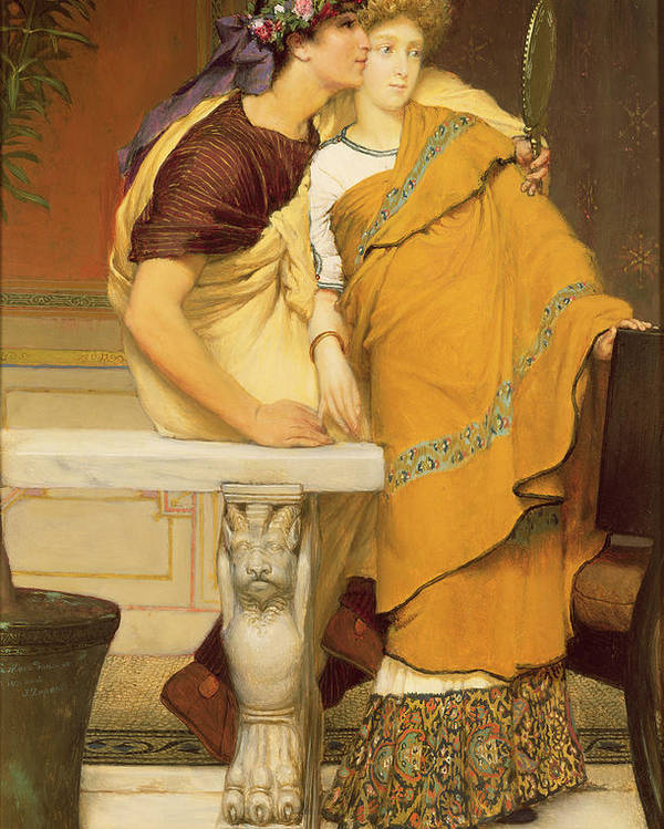 The Poster featuring the painting The Mirror by Sir Lawrence Alma-Tadema