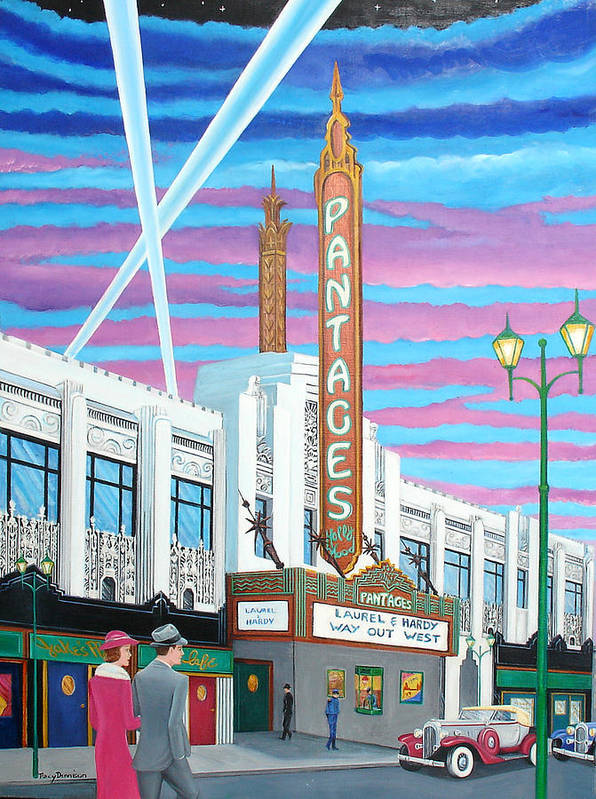 Hollywood Poster featuring the painting The Pantages Theatre by Tracy Dennison