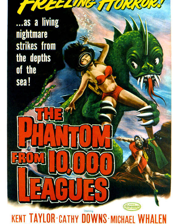 1956 Movies Poster featuring the photograph The Phantom From 10,000 Leagues, Poster by Everett