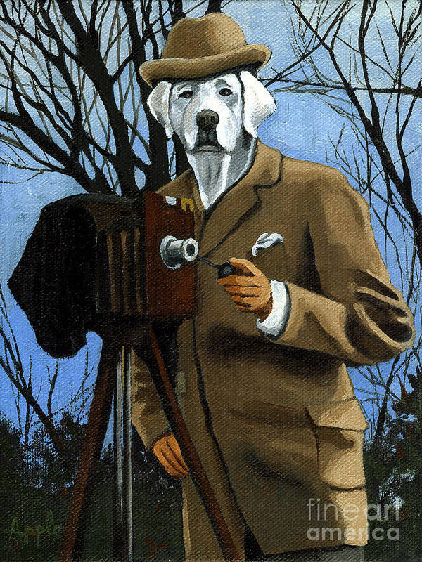 Dog Poster featuring the painting The Photographer - Dog Portrait by Linda Apple