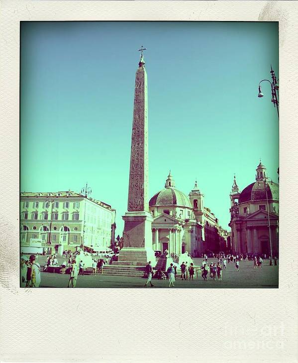 Church Cityscape Obelisk Piazza Del Popolo Steet Taxi Town Square Tourists Tourist Tourism The Squares Square Rome Popolo Piazza Persons Person People Outdoor Obelisks Italy Humans Human Exteriors Exterior Europe During Del Daytime Daylight Day Buildings Building Beings Being Architecture Piazza Del Popolo Poster featuring the photograph The Piazza Del Popolo. Rome by Bernard Jaubert